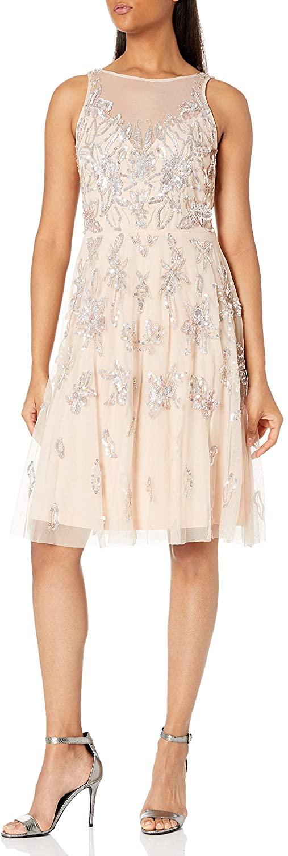 Adrianna Papell Women's Bead Tea Length Dress