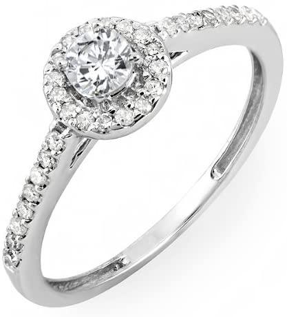 Dazzlingrock Collection 0.50 Carat (ctw) 18k Gold Round Cut Diamond Ladies Engagement Bridal Halo Ring 1/2 CT