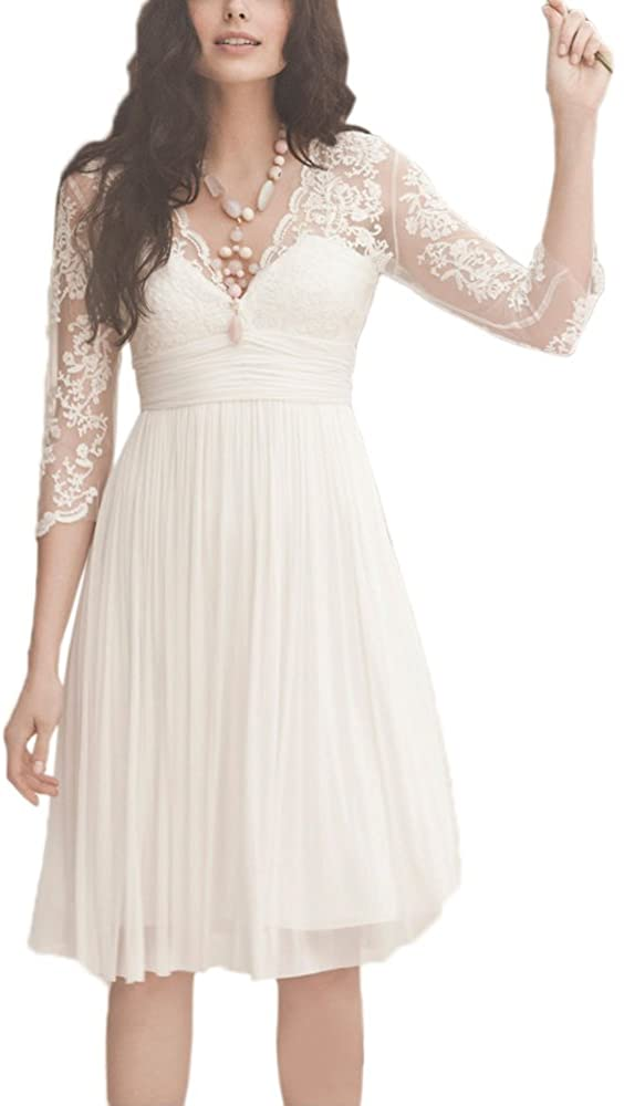 Butalways Beach Wedding Dresses Short With Sleeves Chiffon Lace Bridal Wedding Gowns Knee Length