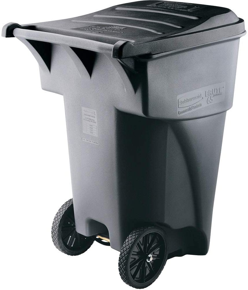 Brute Rollout Heavy-Duty Waste Container, Square, Polyethylene, 95gal, Gray (Renewed)