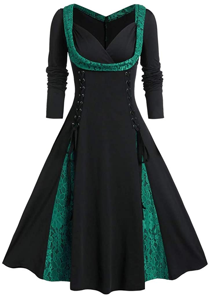 HDGTSA Women's A-Line Dresses Plus Size Plaid Print Button V-Neck Midi Vintage Dress