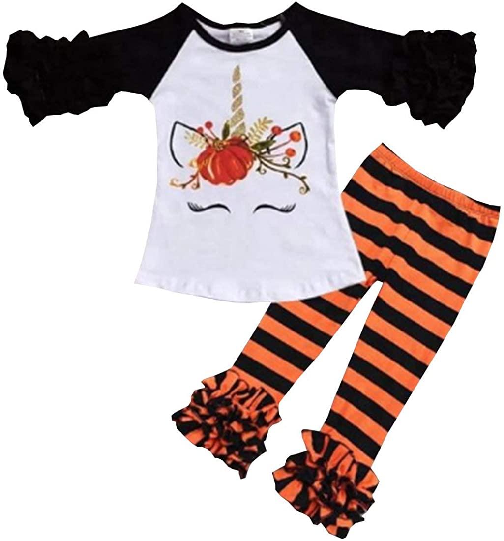 2Pcs Baby Girl Halloween Outfits Set Ruffle Long Sleeve Pumpkin T-Shirt Tops Blouse Striped Pants Casual Pajamas Set 1-6Y