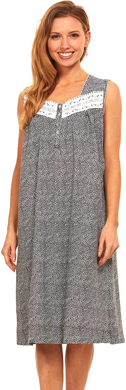 Floopi Womens Nightgown Sleepwear Cotton Pajamas - Womans Sleeveless Sleep Dress Nightshirt