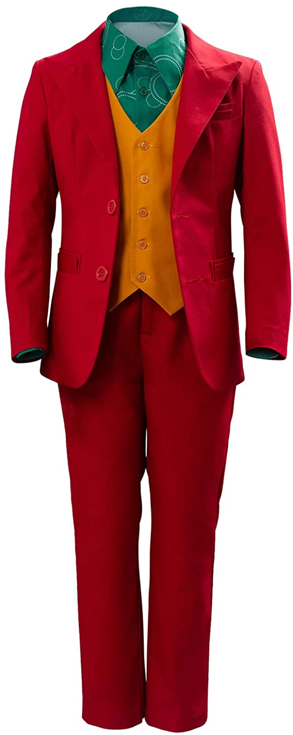 Mens Kids 2020 Clown Halloween Cosplay Costume Red Shirt Vest Suit Party Outfit