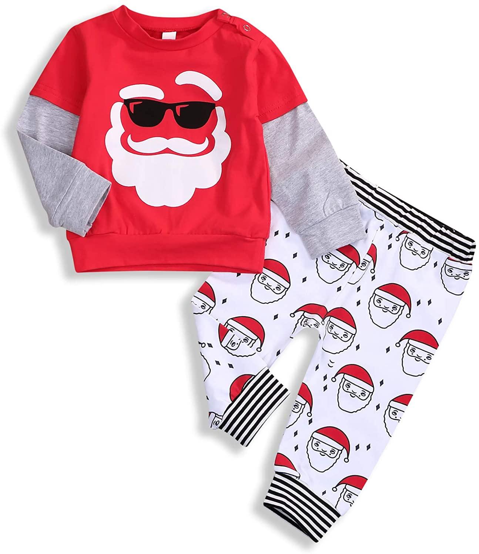 Toddler Baby Little Boy Girls Christmas Outfit Santa Splicing Shirt + Pants Sweatsuit Xmas Pajamas Clothes Set