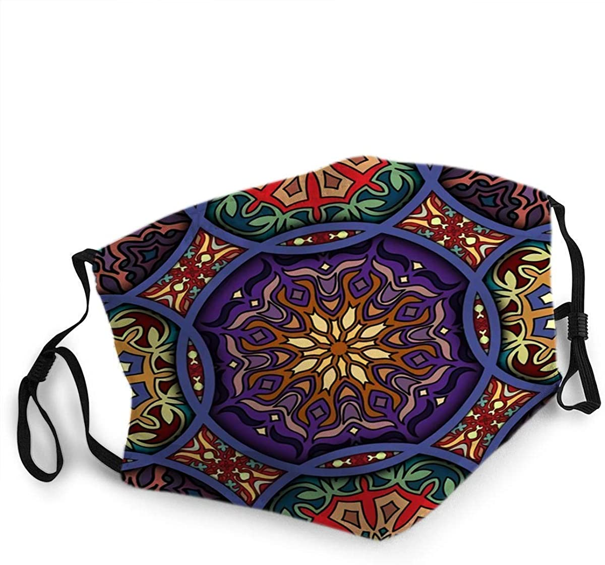 BOKUTT Mouth Mask Reusable Face Covers Face Scarf,Colorful Vintage With Floral And Mandala Elements Face Scarf,Elegant Antidust Mouth Scarf,20X15Cm Printed Breathable-able Facial mask