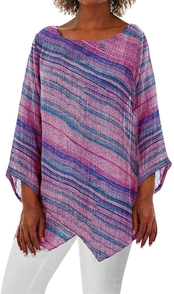 Women's Summer Boho Tops Striped Printed Batwing Sleeve Blouse Poncho Casual Loose Sheer Irregular Hem Tunic T-Shirt