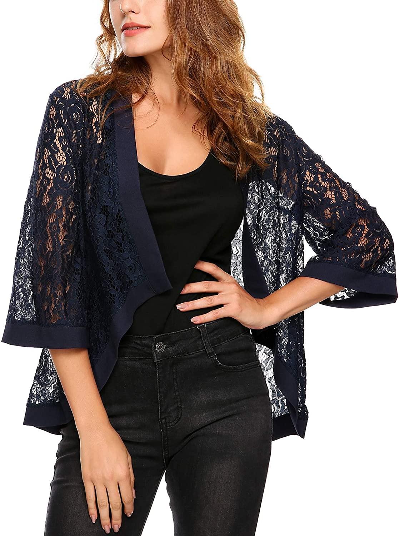ThinIce Women's Fashion 3 4 Sleeve Sheer Lace Crochet Shrug Loose Fit Cardigan