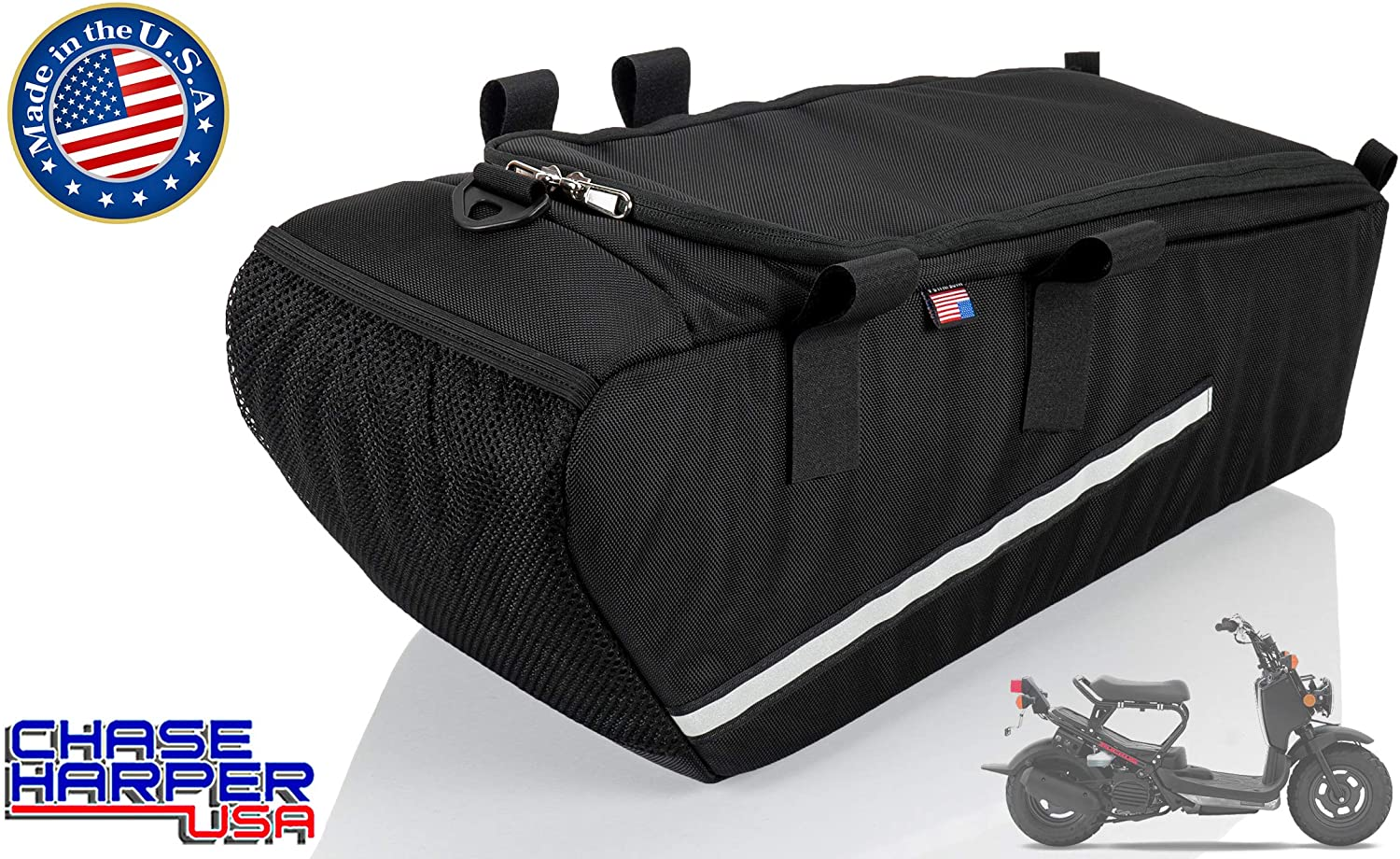 Chase Harper USA 5000 Under The Seat Bag - 2020 Model - Compatible with All Honda Ruckus Model Years - Water and Tear-Resistant Industrial Grade Ballistic Nylon - Black
