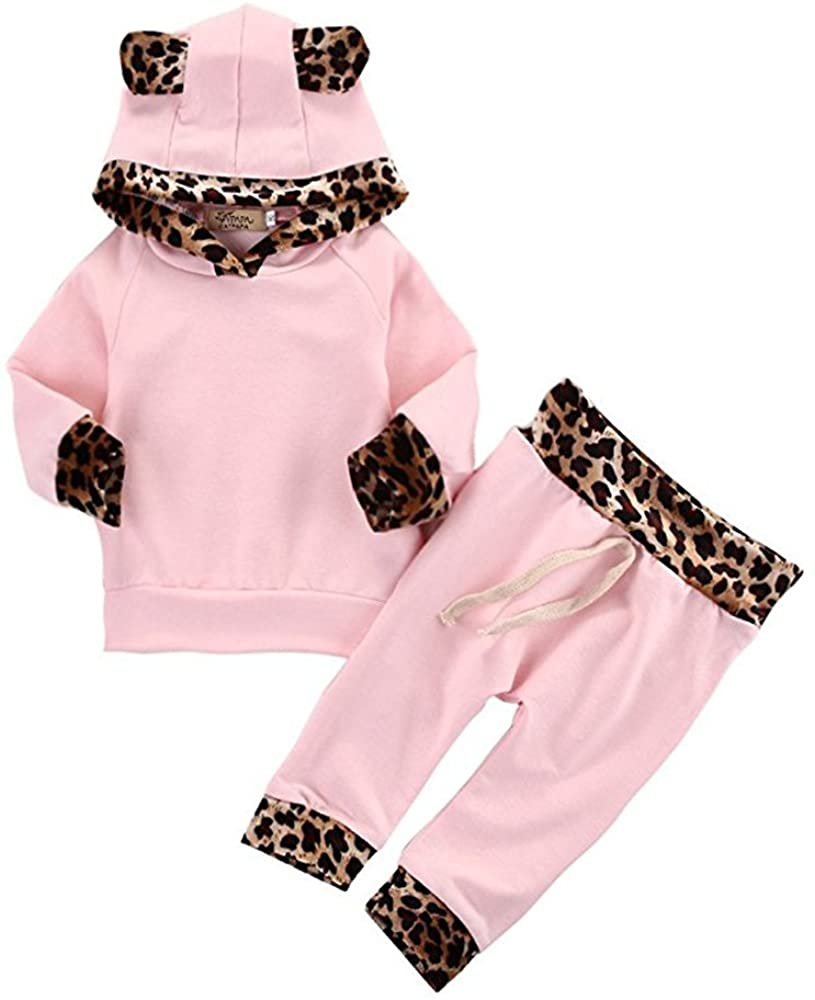 2Pcs Cute Newborn Baby Girls Pink Leopard Hoodie T-Shirt Top + Pants Outfits Set