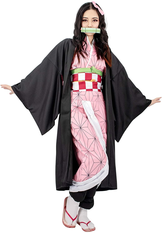 C-ZOFEK Kamado Nezuko Cosplay Costume Womens Kimono Outfit