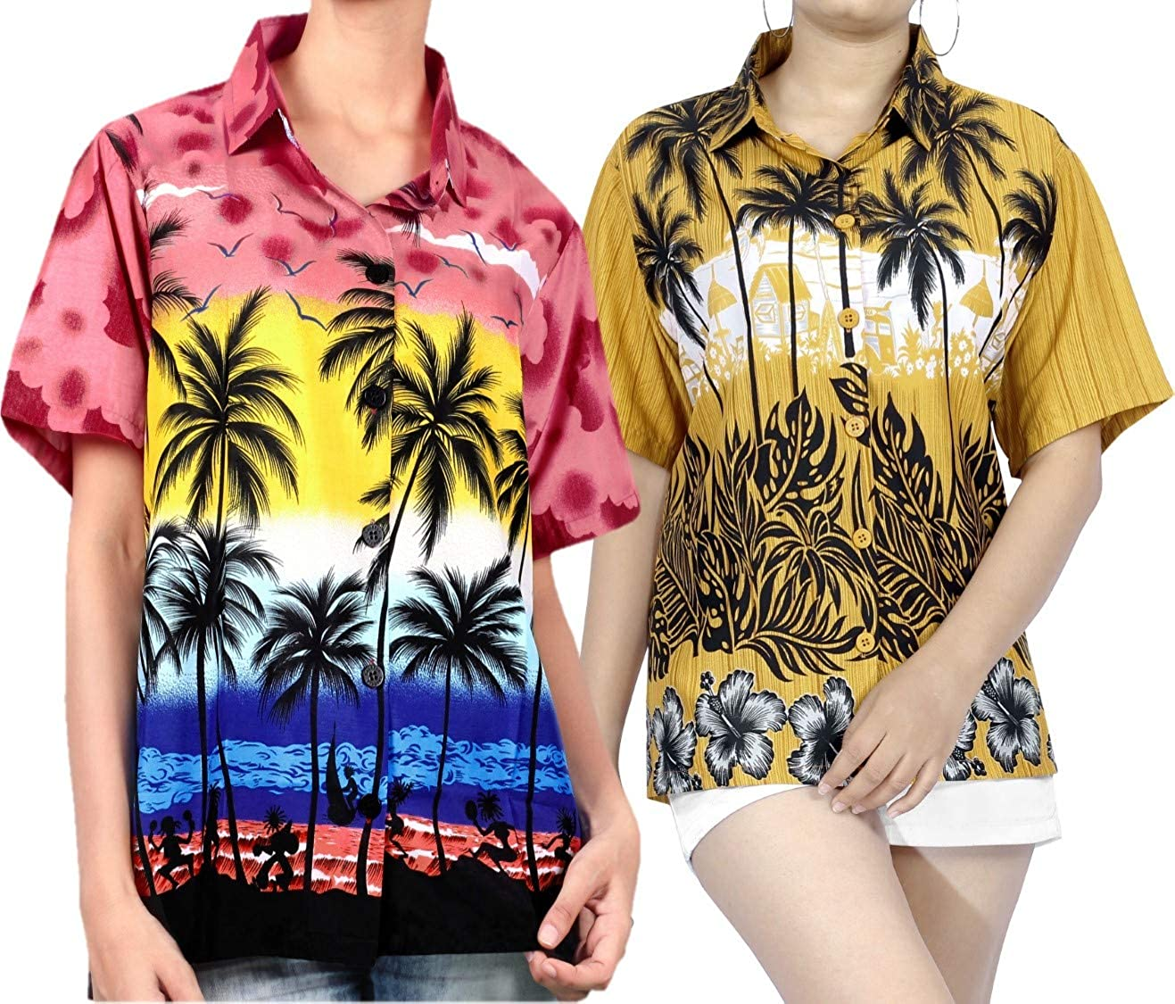 LA LEELA Women's Tropical Hawaiian Shirt Button Down Shirt Dress Work from Home Clothes Women Beach Shirt Blouse Shirt Combo Pack of 2 Size XXL