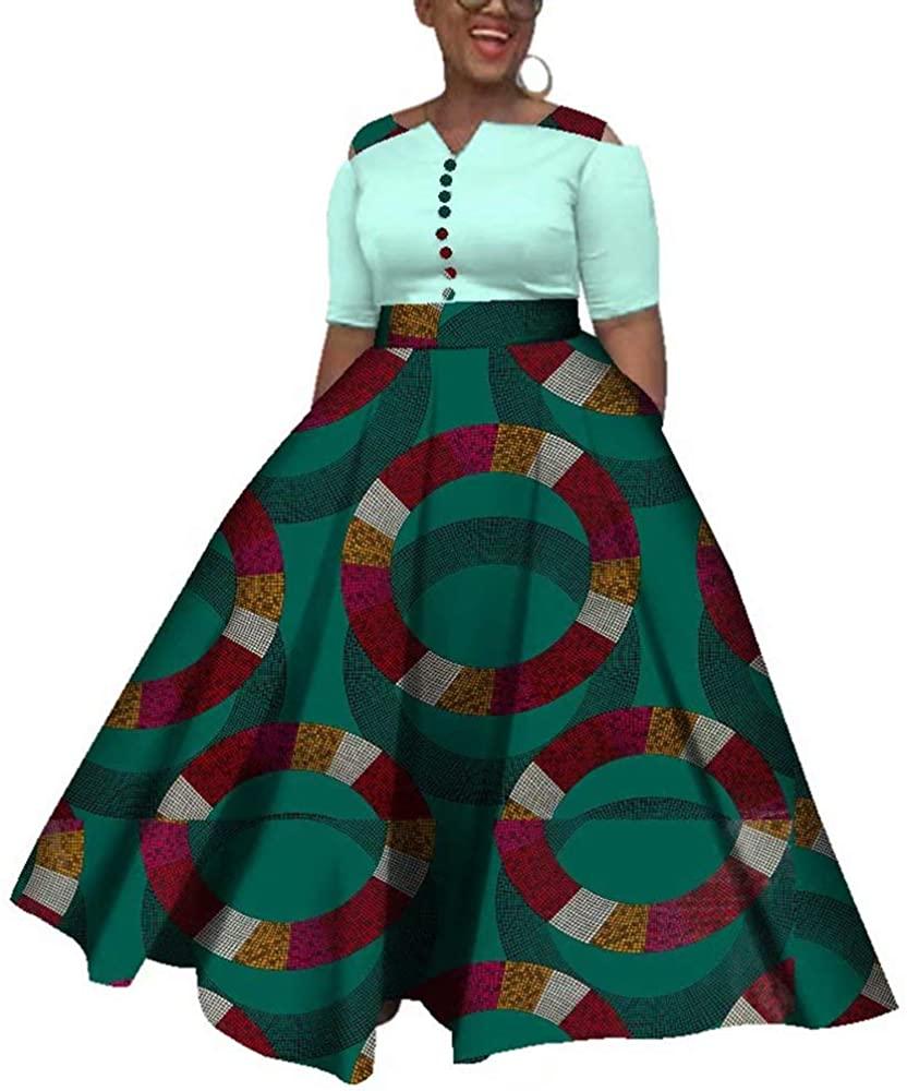 iooiooi Womens Half Sleeve African Wedding Maxi Dress Ankara African Attire Party Outfit