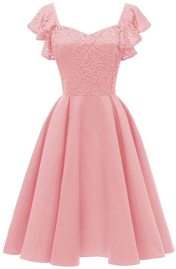 Adeliber Womens Formal Mini Lace Chiffon Dresses Off Shoulder Slim Fit Evening Party Cocktail Bridesmaid Gown