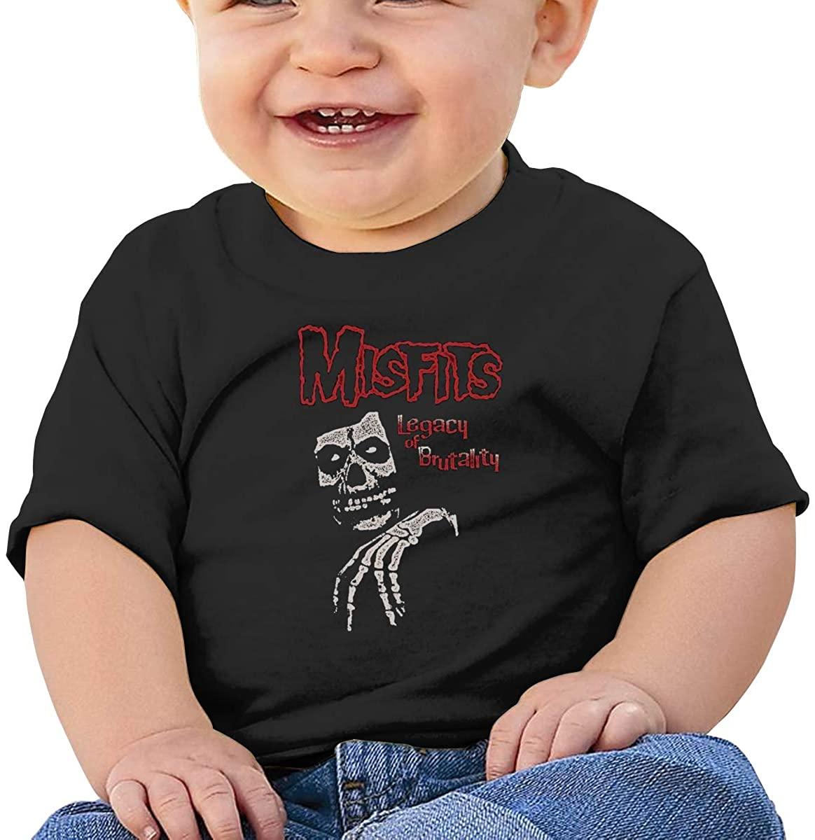6-24 Months Boy and Girl Baby Short Sleeve T-Shirt Misfits Original Minimalist Style Black