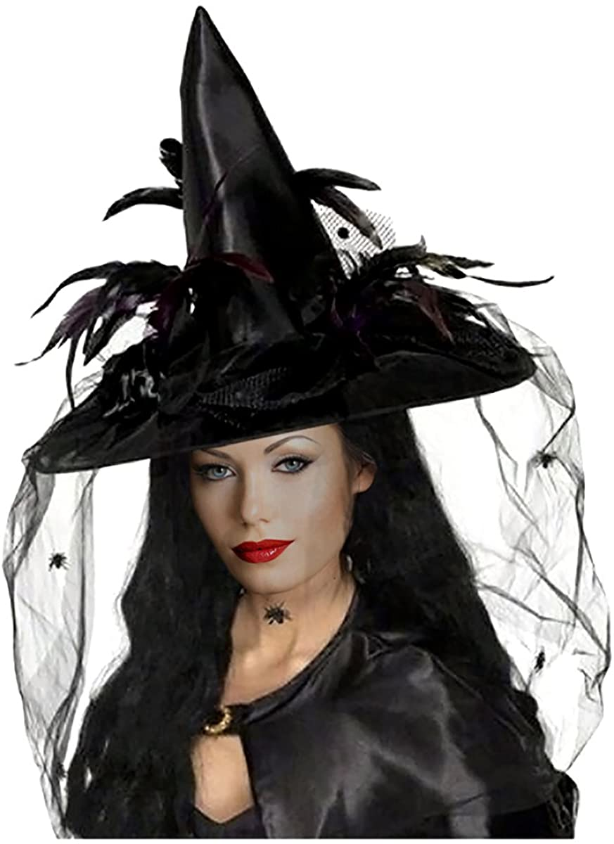 Goetland Women Deluxe Witch Hat Halloween Costume Sharp Pointed with Veils Spiders Feathers for Party Carnival