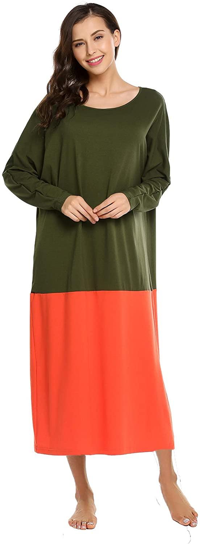 Zeagoo Sleepwear Women's Casual Nightshirt Long Sleeve Long Nightgown