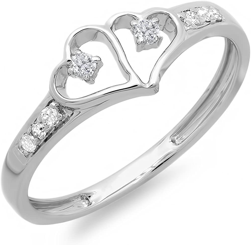 Dazzlingrock Collection 0.15 Carat (ctw) Round White Diamond Ladies Promise Double Heart Love Engagement Ring, Sterling Silver