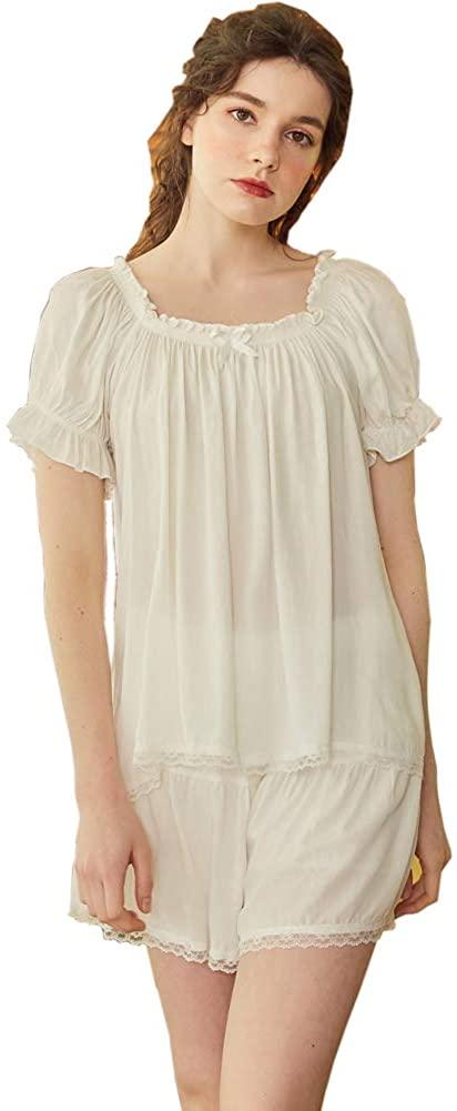 Womens Pajama Short Sets Soft Cotton Short Sleeve Vintage Lace Sleepwear Nightwear Lounge Set