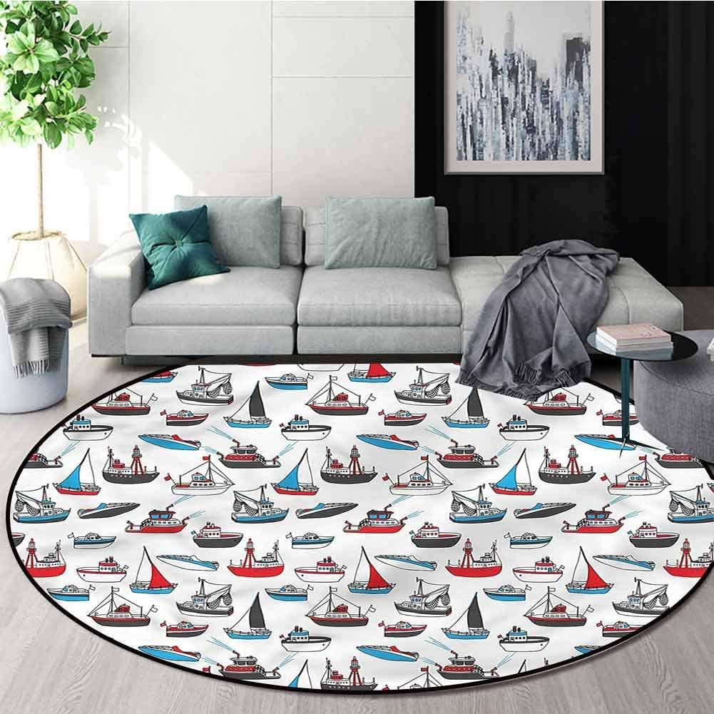 RUGSMAT Sail Boat Round Area Rug,Nautical Vessel Designs Non-Slip Bathroom Soft Floor Mat Home Decor Diameter-39