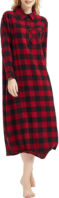 PNAEONG Women's 100% Cotton Woven Flannel Nightgowns Full Length Long