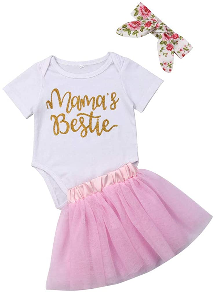 3Pcs/Set Newborn Baby Girl Summer Outfit Mamas Bestie Bodysuit Romper with Headband+Pink Tutu Skirt Clothes