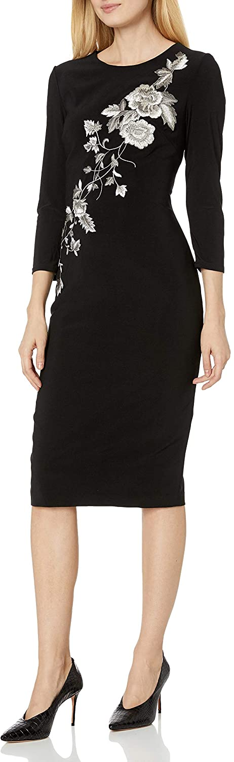 JS Collection Women's 3/4 Sleeve Embroidered Midi Dress