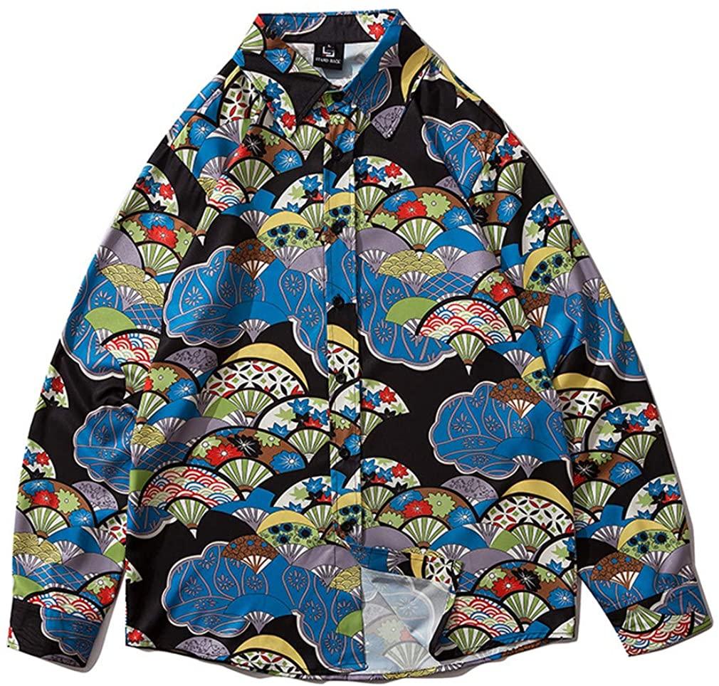 OTNZQZYF Printed Long Sleeve Shirt Men Streetwear Fall Shirt Retro Shirts Harujuku Mens Shirt 2092