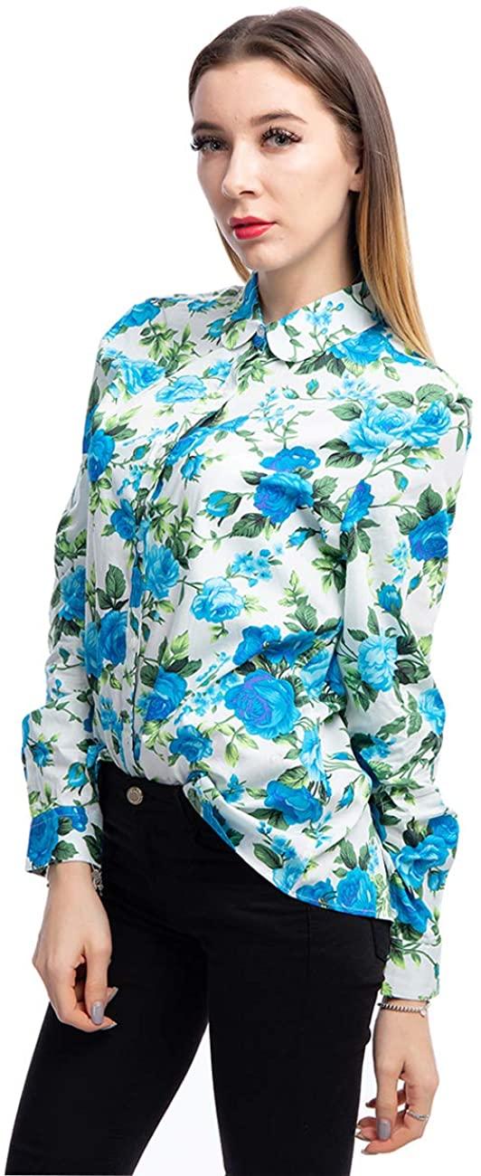 ERZTIAY Women's Blouses Casual Long Sleeve Work Button Down Dress Hawaiian Shirts Tops