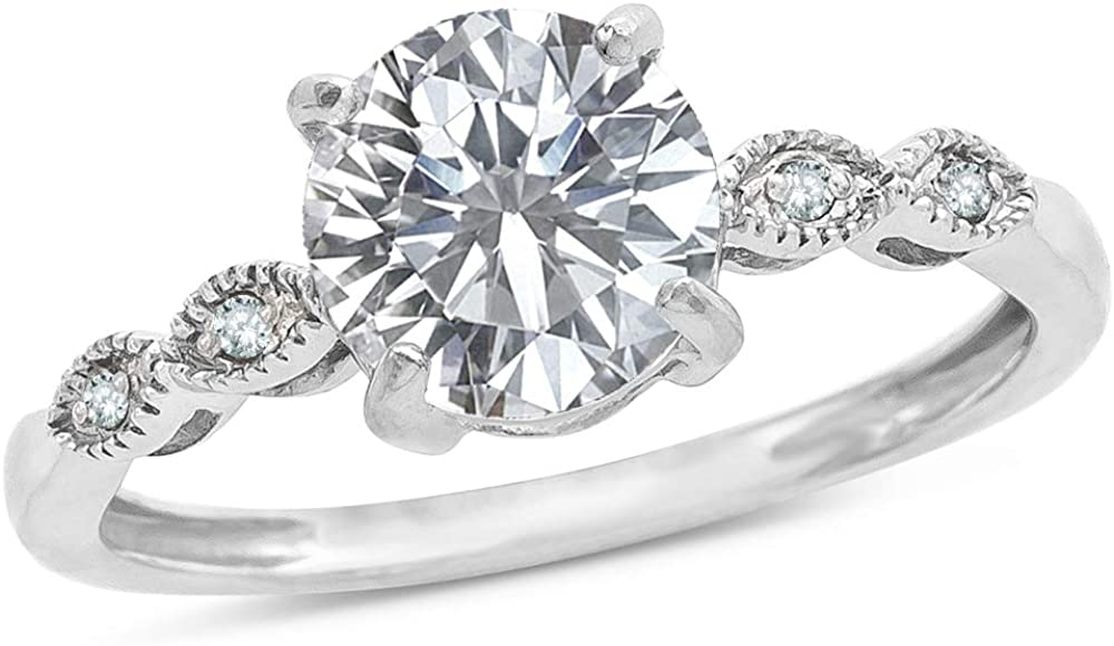 Star K 10k White Gold Round 7mm Vintage Antique Look Engagement Promise Ring