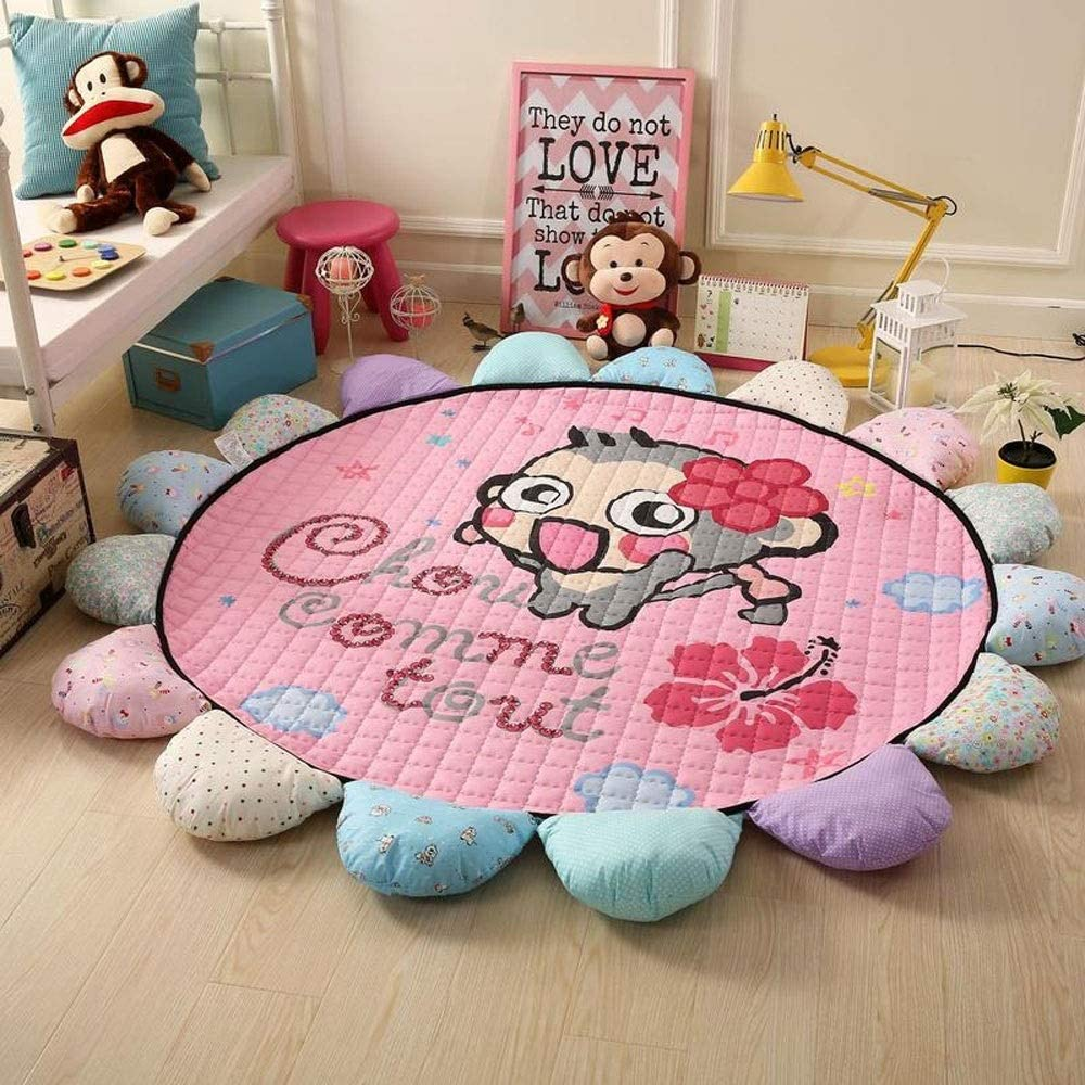 LOUUG Non Toxic Anti-Slip Round Cotton Early Education Nursery Baby Toddler Play Mat Kids' Room Decoration Gift Skin-friendly Creeping Mat Carpet Crawling Blanket For Infants Children's Floor Game Rug