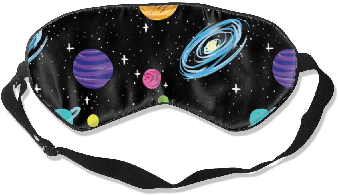 Outer Space Spaceship Eye Mask Sleeping Mask 100% Double-Sided Silk Eyeshade Eye Cover