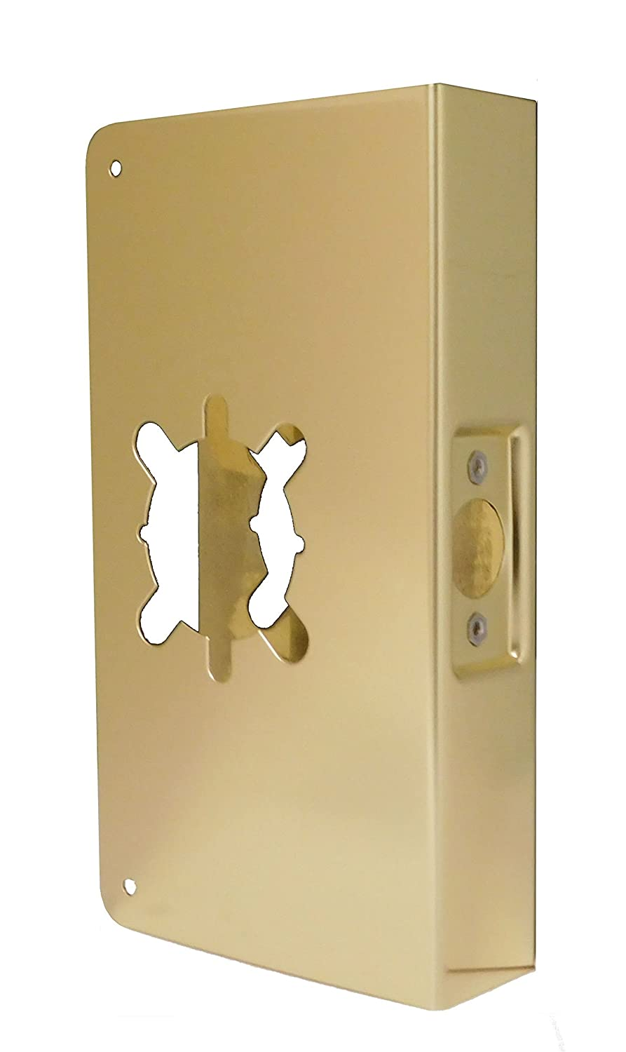 Don-Jo 20-2-CW 22 Gauge Stainless Steel Wrap-Around Plate, Polished Brass Finish, 5-3/4
