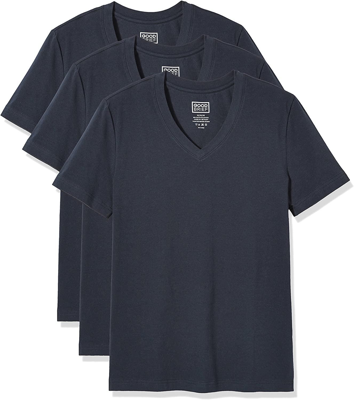 Good Brief Men's 3-Pack Cotton Stretch Short Sleeve V-Neck Undershirt