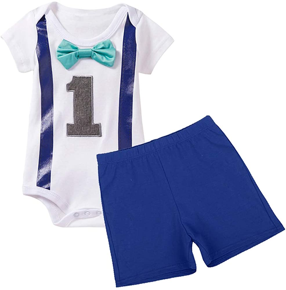 Baby Boys 1st Birthday Cake Smash Formal Suit Gentleman Romper Bow-tie Pants Outfits Set Costume