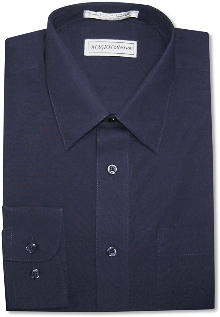 Biagio Men's 100% Cotton Solid Navy Blue Color Dress Shirt w/Convertible Cuffs
