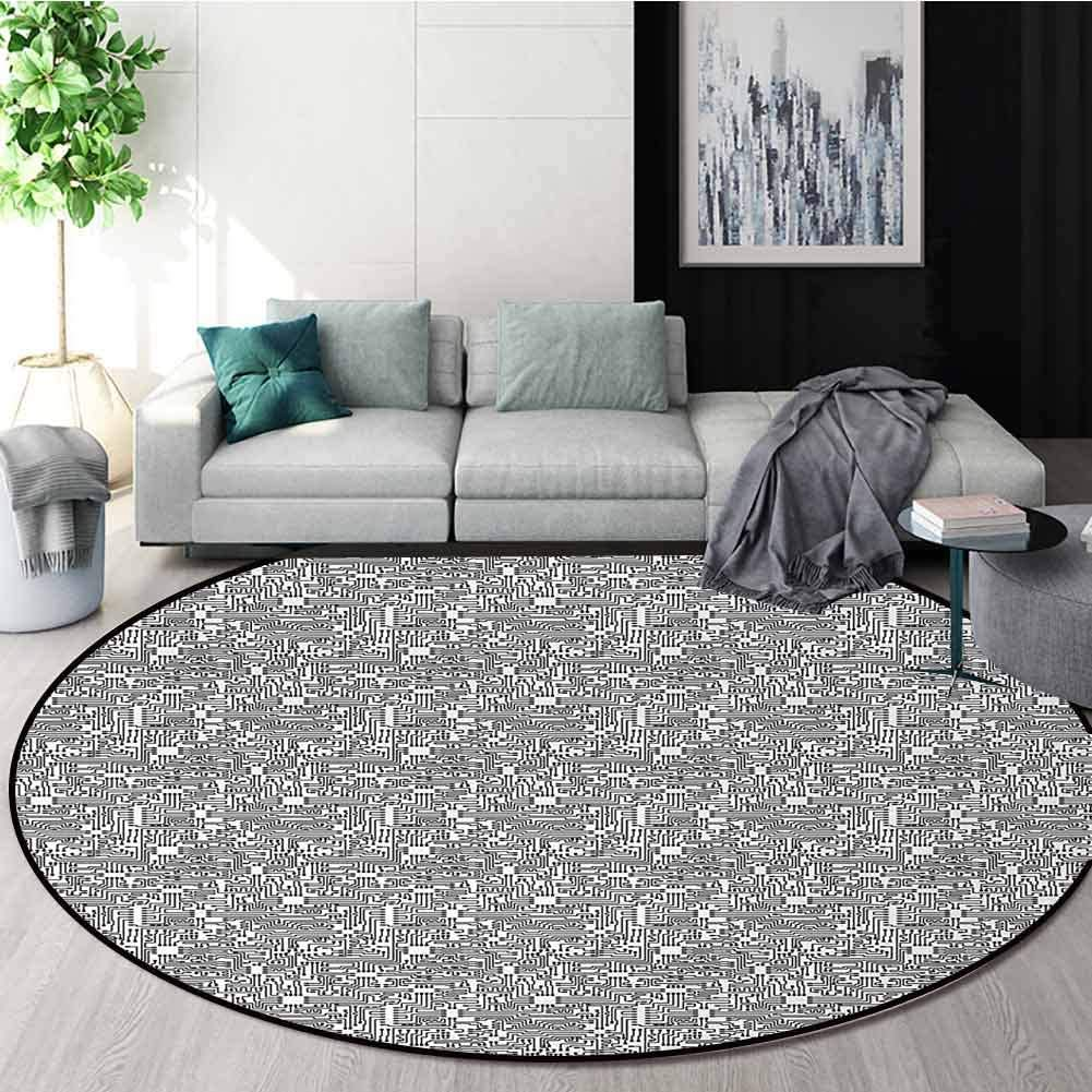 Black And White Non-Slip Area Rug Pad Round,Hi-Tech Themed Monochrome Pattern Abstract Design Engineering Science Protect Floors While Securing Rug Making Vacuuming Diameter-39 Inch,Black White