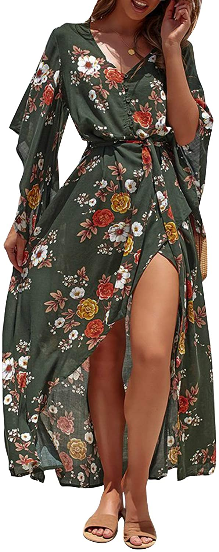 BerryGo Womens Boho Button Down Floral Beach Dress V Neck Split Party Dress