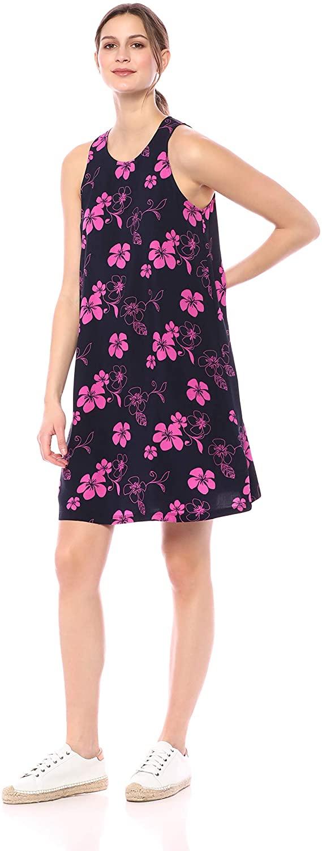 DHgate Brand - 28 Palms Womens Tropical Hawaiian Print Lightweight Sleeveless Shift Dress