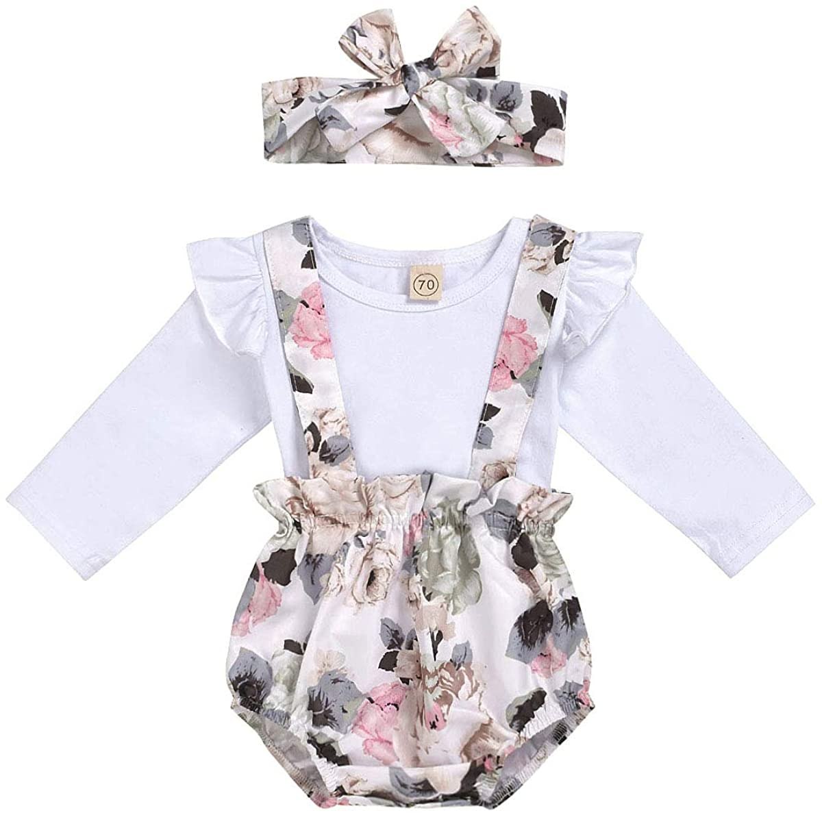 Kids NewbornBaby Girls Fall Outfits Long Sleeve Romper Bodysuit+Ruffle Floral Strap Pants Winter Clothes Set
