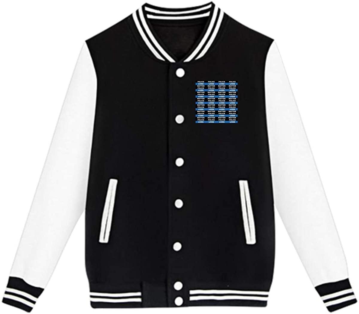 Police Lives Matter Thin Blue Line Baseball Jacket Custom Fleece Varsity Uniform Sport Coat for Youth