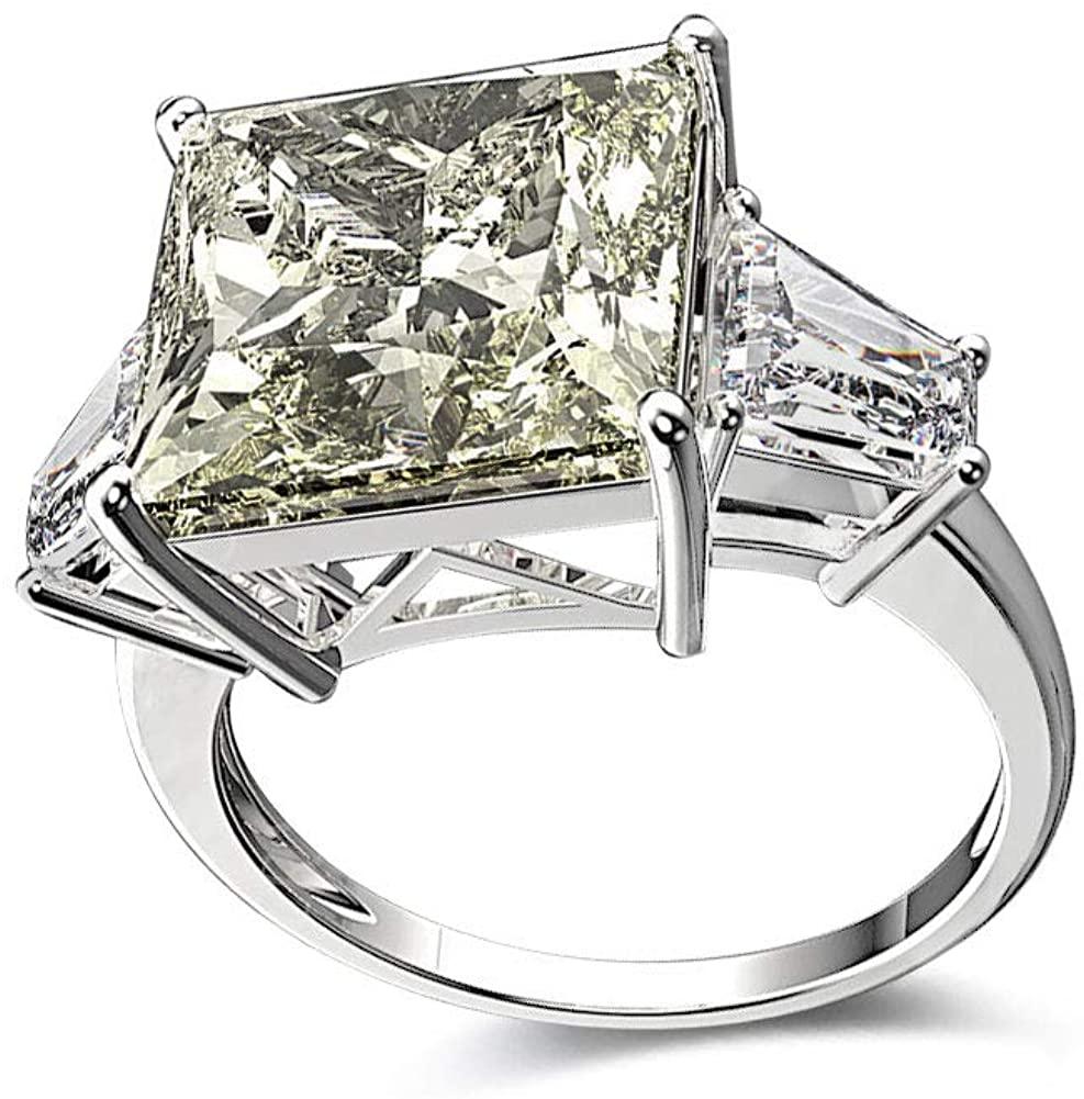 Bo.Dream Rhodium Plated Sterling Silver Princess Cut Cubic Zirconia CZ 3-Stone Anniversary Engagement Ring 12x12mm 7 CTW