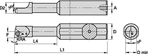 WIDIA WIDIA Circle FSBI20350050R FSBI Small Hole Boring Bar for Turning, 0° Angle, Steel Stepped Boring Bar, 0.5 Shank Diameter, Right, 3 Length