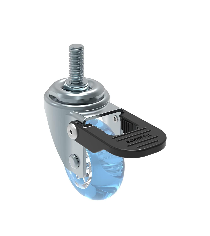 Schioppa L10 Series, GLEFF 210 Gel Blue FPI, Swivel Brake Caster, 2 (50 mm) Non-Marking Polyurethane Whl, 90 lbs, 10 mm Diameter x 40 mm Length Threaded Stem
