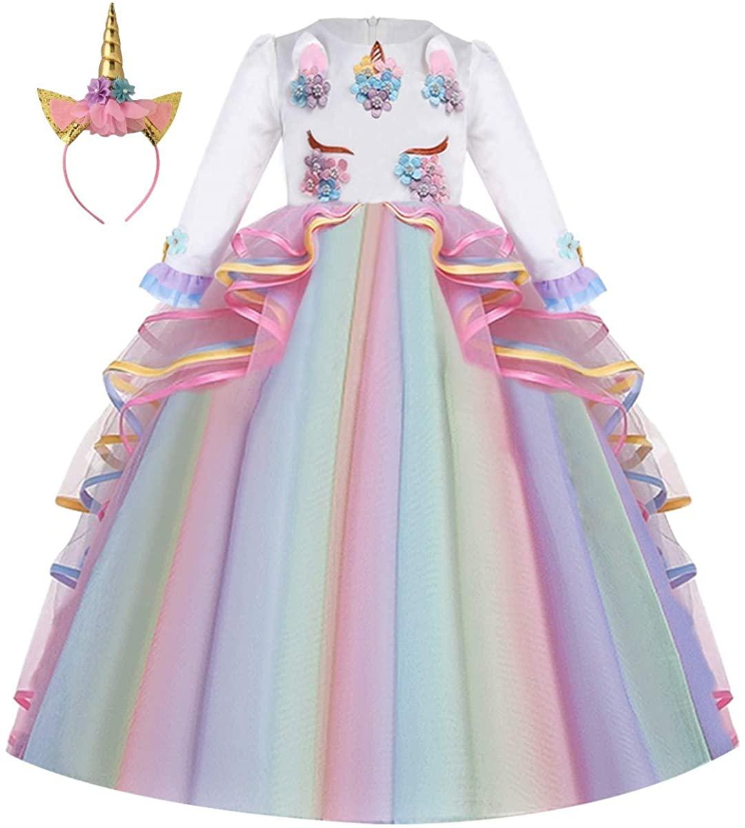 HIHCBF Girls Unicorn Birthday Princess Long Sleeve Wedding Pageant Party Maxi Dress Halloween Carnival Costume w/Headband