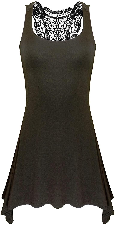 Chanceful Womens Sleeveless Casual Flowy Asymmetrical Hem Floral Lace Crochet Simple Tunic T-Shirt Dress