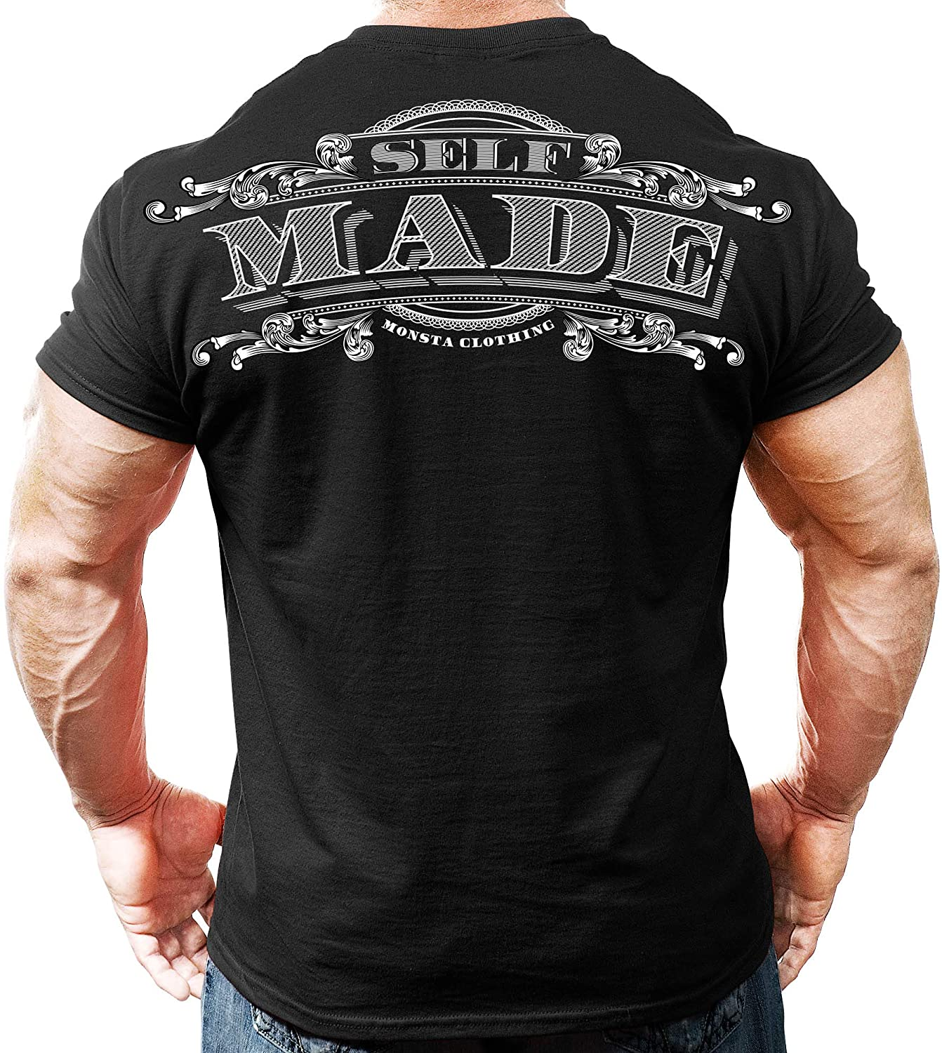 Monsta Clothing Co. Men's Bodybuilding Workout (Self Made) Athletic Gym T-Shirt
