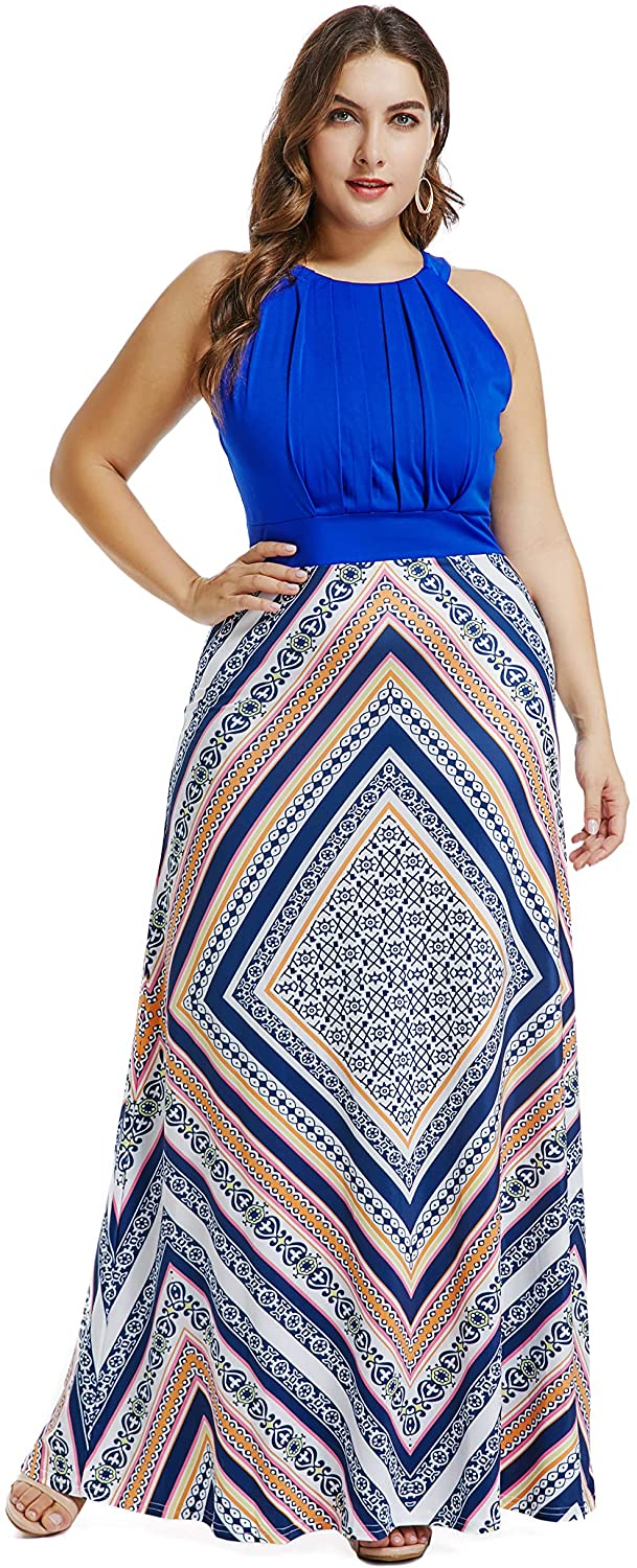 LALAGEN Womens Plus Size Sleeveless Flowy A Line Long Maxi Party Dress