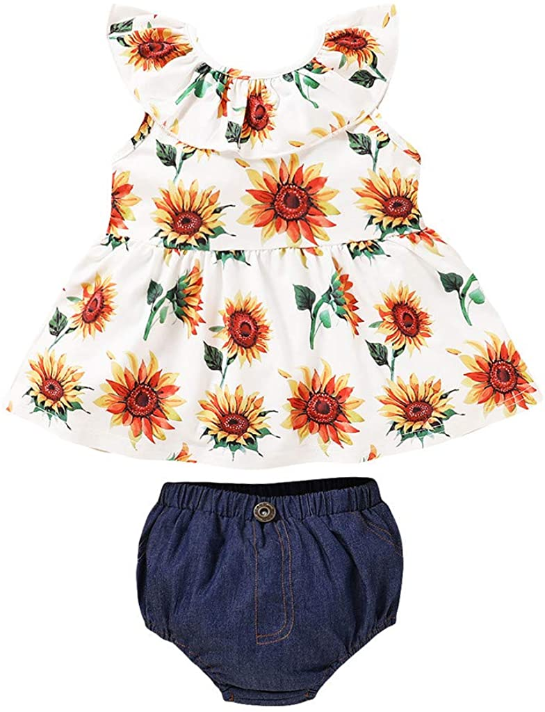 Heberry 0-4 Years Toddler Baby Girls Ruffles Floral Strawberry Print Suspender Tops+Shorts Outfits
