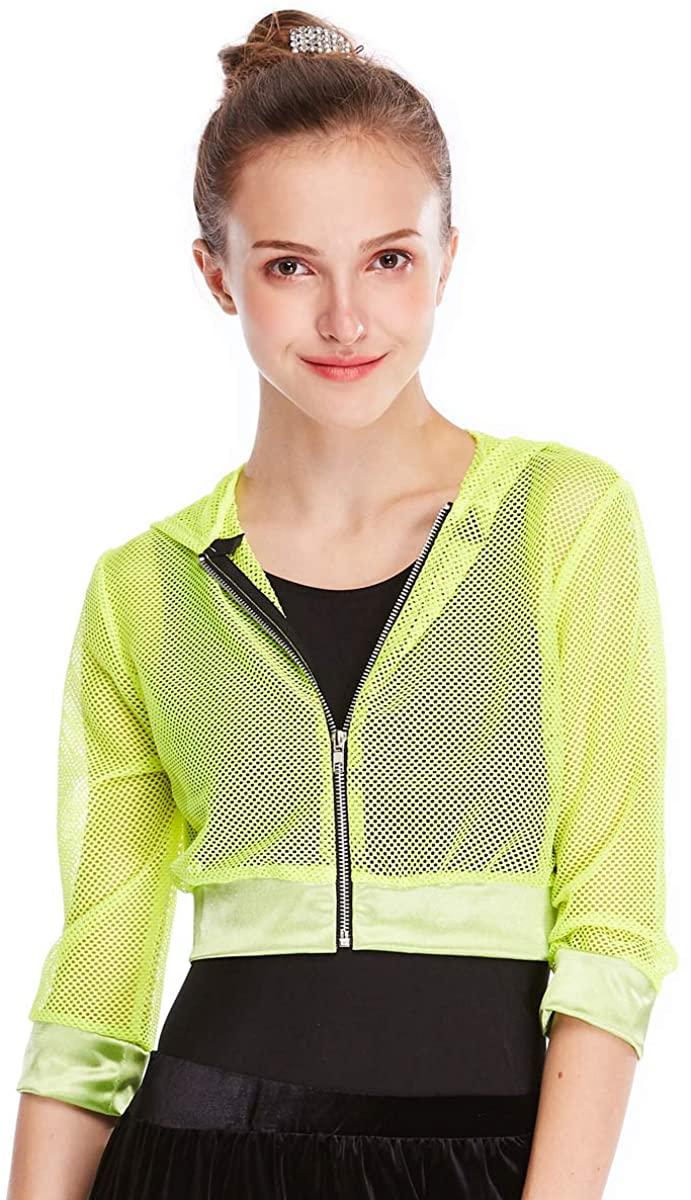 MiDee Novelty Fishnet Hoodies Hip-Hop Costumes Hiphop Jacket 3/4 Length 5 Colors (MC, Yellow)